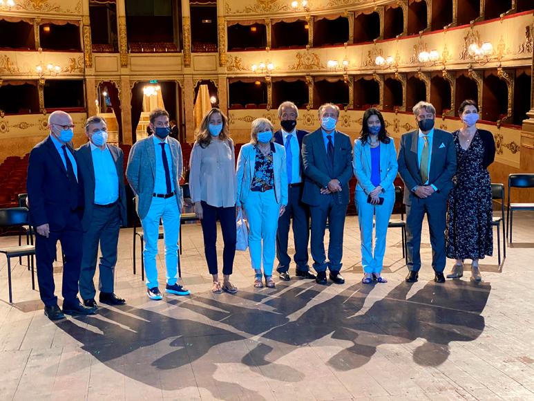 La ministra Lucia Azzolina in visita al Teatro della Pergola